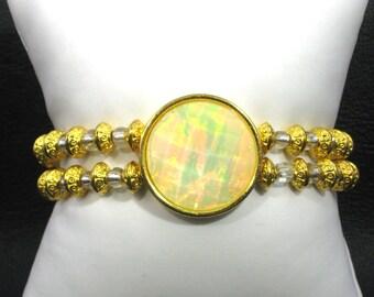 Gold Round Opal Medallion Bracelet