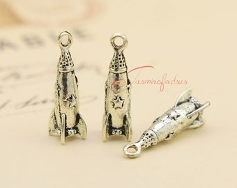 10PCS--25x7mm ,Rocket Charms, Antique silver 3D Star Missile Charms Pendants , DIY supplies, jewelry findings