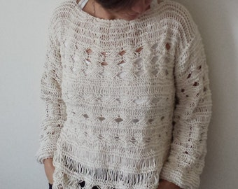 Hand Knit Sweater, Pattern knit sweater, Hand Knitted sweater, Openwork sweater, Natural color, Womens Clothing, Long Sleeved, Knitwear,