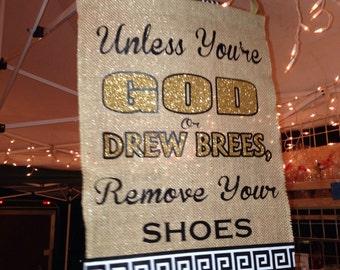 New Orleans Saints - Drew Brees, burlap yard sign