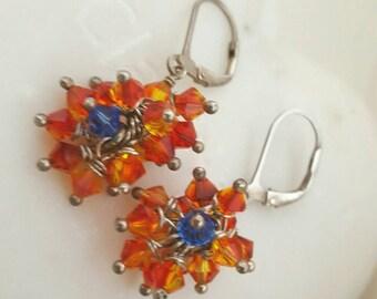 Swarovski crystals cluster earrings