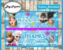 frozen Bags Topper, printable frozen party Bags Topper, frozen treat bags toppers