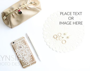 Stock Photo: Styled Desk | Gold, White, iPhone, Flowers, Jewelry