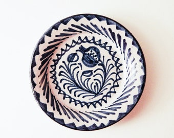Vintage Hand Painted Blue & White Small Hanging Plate