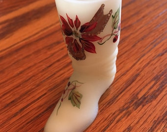 Fenton Art Glass Boot with Poinsettia Pattern