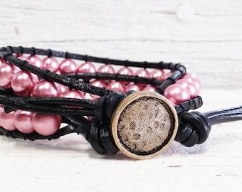 Bohemian Beaded Wrap Bracelet -Leather Jewelry -Women's Leather Wrap Bracelet -Leather Beaded Bracelet -Pearls And Leather Wrap Bracelet