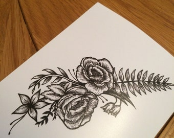 Rose and Branch Hand-drawn Art Print