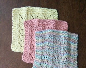 Washcloth Set in Yellow/Coral/Buttercream