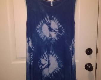 Hand Dyed Indigo Short Dress/Tunic (Rayon)