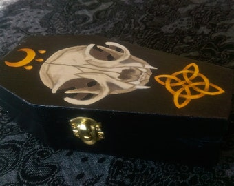 Coffin Keepsake Box with Cat Skull, Blessing, & Witches' Knot Design