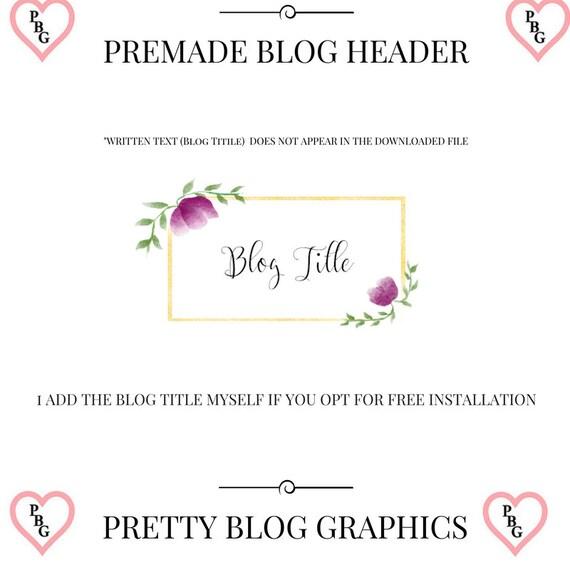 Floral logo, floral blog header, gold blog header, floral logo design, blog header, purple floral logo, blog header design, logo design