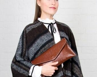 Brown Floral Embossed Leather Clutch and Shoulder Handbag