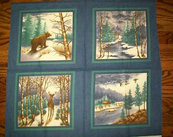 Fabric - Winter Forest Flannels Panel, for Moda