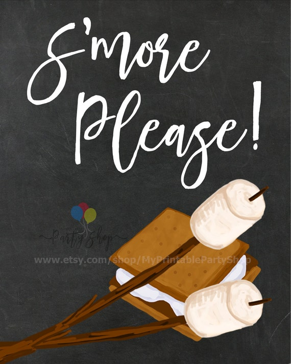 S'mores And Bonfire Party Chalkboard Sign