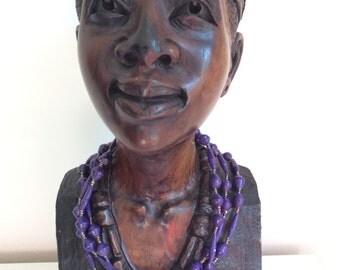 Upcycling-Halskette aus Papierperlen -  lila