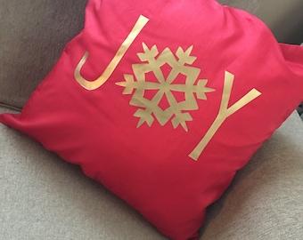 Joy Christmas Throw Pillow Cover, Christmas throw pillow cover