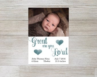 Great are you Lord birth announcement, religious birth announcement, christian birth announcement, photo birth announcement, digital file