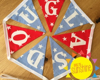 Boy's Bunting Personalised with Name ~ Up to ten bunting flags included in price, optional extra flags at each end (at additional cost).