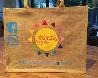 Personalised Spacious Jute Shopper Bag