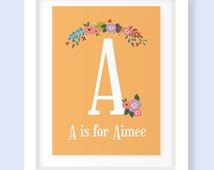 Girls Initial Floral Graphics Frame