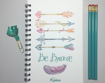 Be Brave, Journal, Bullet Journal, Notebook, Spiral Journal, Personalized, Inspriational, quote, Spiral Notbook, Writing, Arrow, Tribal,