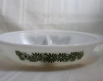 Glasbake Divided Casserole Dish, J2352, Green Daisy Pattern on Milk Glass, Divided Baking Dish