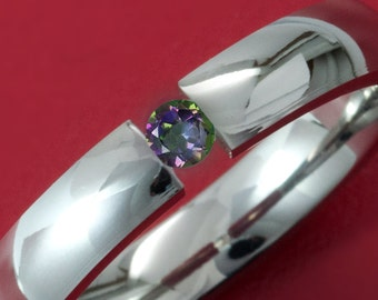 Beautiful 4MM Dome  Titanium Tension Set Ring with Mystic Topaz