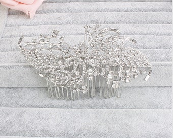 Vintage Crystal Hair Comb. Bridal accessories, crystal comb,decorative comb,wedding, hair piece, jewelry,silver comb,clip