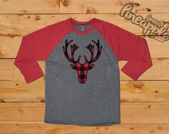 Buffalo Plaid Ladies 3/4 Sleeve Raglan Christmas T-Shirt