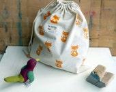 Fox - big size canvas drawstring bag