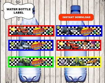 Blaze and the Monster Machines water labels instant download , Printable Blaze and the Monster Machines water labels