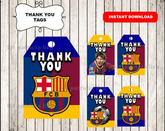 FC Barcelona Thank you Tags instant download , FC Barcelona Thank you Tags, Printable Soccer tags