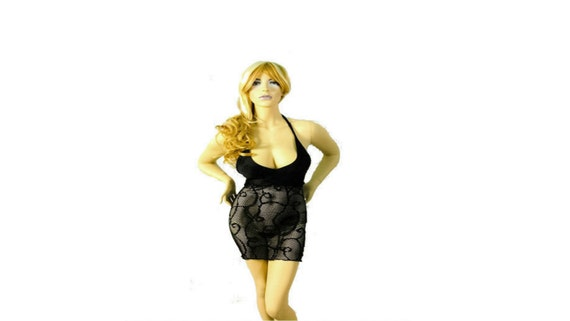 New Exotic Dancer Stripper Dancewear Black Mesh Short Dress.