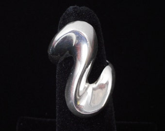 Vintage 1980s retro-style Mexican sterling silver 925 wave statement ring - size 6.5 or 7? - VERY solid and heavy Taxco Mexico