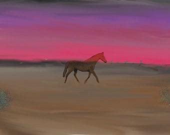 Horse in the desert at sunset