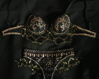 Art deco bra and matching thong