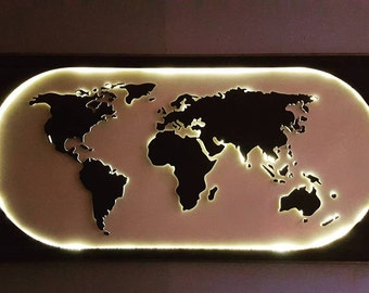 KINDLE WORLD, WORLD MAP wall décor, lighting, illuminated, design, unique, handmade, led, lights, world,