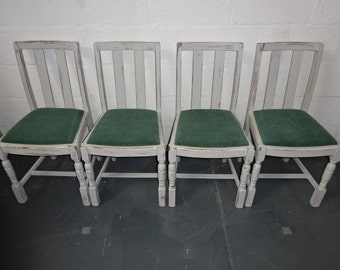 CHAIRS SALE****A Set of Four 1960's Oak Dining Chair's Upcycled Was 220.00 Reduced Price 200.00