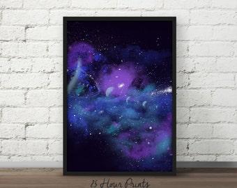 Instant Download Blue Nebula Print - Galaxy Print - Art Print - Printable - Digital Prints - Galaxy Art - Space Art - Nebula Art