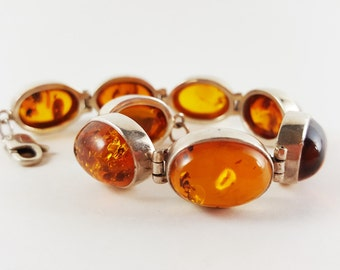 Vintage 1960s Baltic Amber and Sterling Silver Bracelet // Gift for Her / Gift for Wife / Girlfriend Gift
