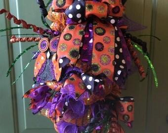 Halloween swag, Owl Halloween swag, Halloween wreath