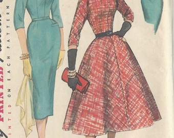 """1956 Vintage Sewing Pattern B35"""" ONE-PIECE DRESS (241) Simplicity 1714"""