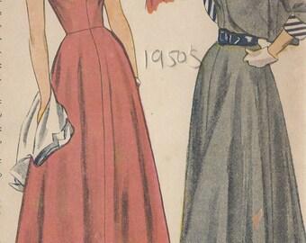 "1949 Vintage Sewing Pattern DRESS & BOLERO B30"" (R595) Simplicity 2817"
