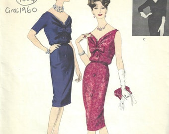 """1960 Vintage VOGUE Sewing Pattern DRESS B38"""" (1554) By Patou Vogue 1480"""
