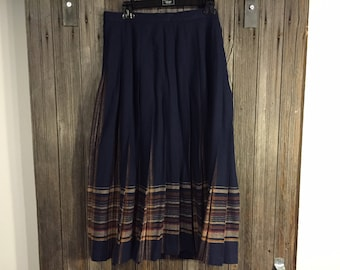 Blue, brown pleated Vintage Wool skirt