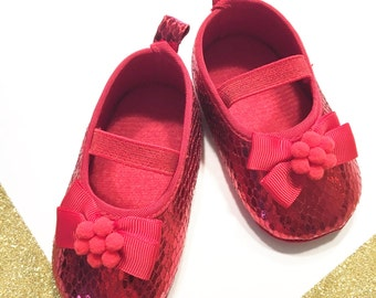 Baby red shoes, Girl red shoes, Baby christmas shoes, Baby birthday shoes