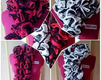 """Scarf Boa """"RedBlack"""" or """"SaltPepper"""",  fluffy scarf, crochet scarf, neckerchief"""