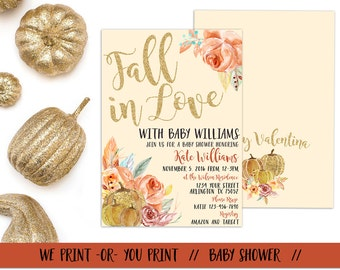 Fall in Love Baby Shower Invitation, Fall Baby Shower, Fall in Love with Baby Babyshower Invite, Fall theme Baby Shower, Autumn Baby Shower