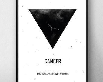 Printable artwork , Cancer Zodiac Print  Zodiac Sign , Cancer Constellation, Zodiac Art, Astrology Print , watercolor artwork , Geometric