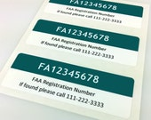 Set of 3 Premium FAA Drone Registration Labels/Stickers in Ocean Color, FAA-Compliant, Waterproof and Easy to Remove
